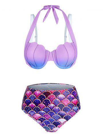 Ombre Mermaid Print Padded Bikini Set - LIGHT PURPLE - 3XL