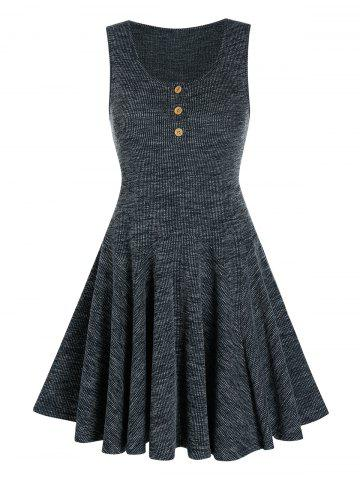 Hlaf Button Knitted Sleeveless A Line Dress