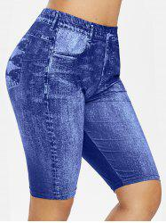 Plus Size 3D Jean Print Short Leggings -