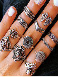 14Pcs Retro Hollow Floral Wings Carved Ring Set -