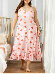 Plus Size Heart Print Flounce Nightdress -