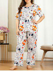 Plus Size Cartoon Owl Print Pajama Set -