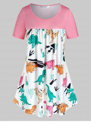 Plus Size Colorful Dinosaur Pattern Curved Tunic Tee -