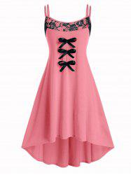 Plus Size High Low Bowknot Spaghetti Strap Dress -