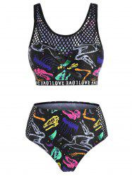 Fishnet Panel Dinosaur Skeleton Print Moulded Tankini Swimwear -