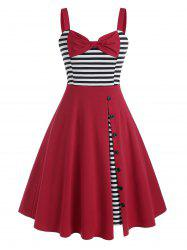 Bowknot Striped Panel Buttoned 1950s Dress -
