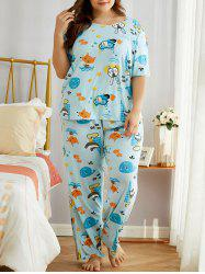 Plus Size Cartoon Animal Print PJ Set -