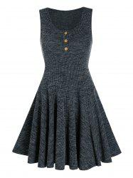Hlaf Button Knitted Sleeveless A Line Dress -