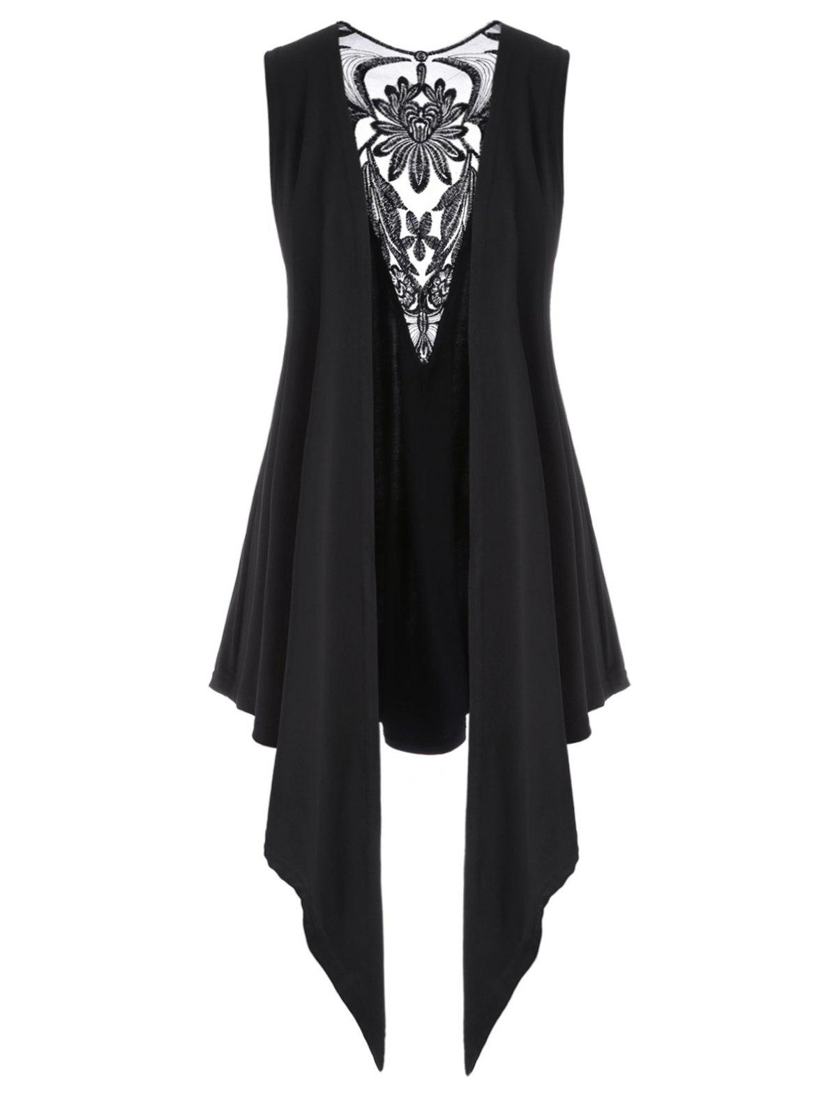 Mesh Panel Open Front Embroidered Plus Size Top фото