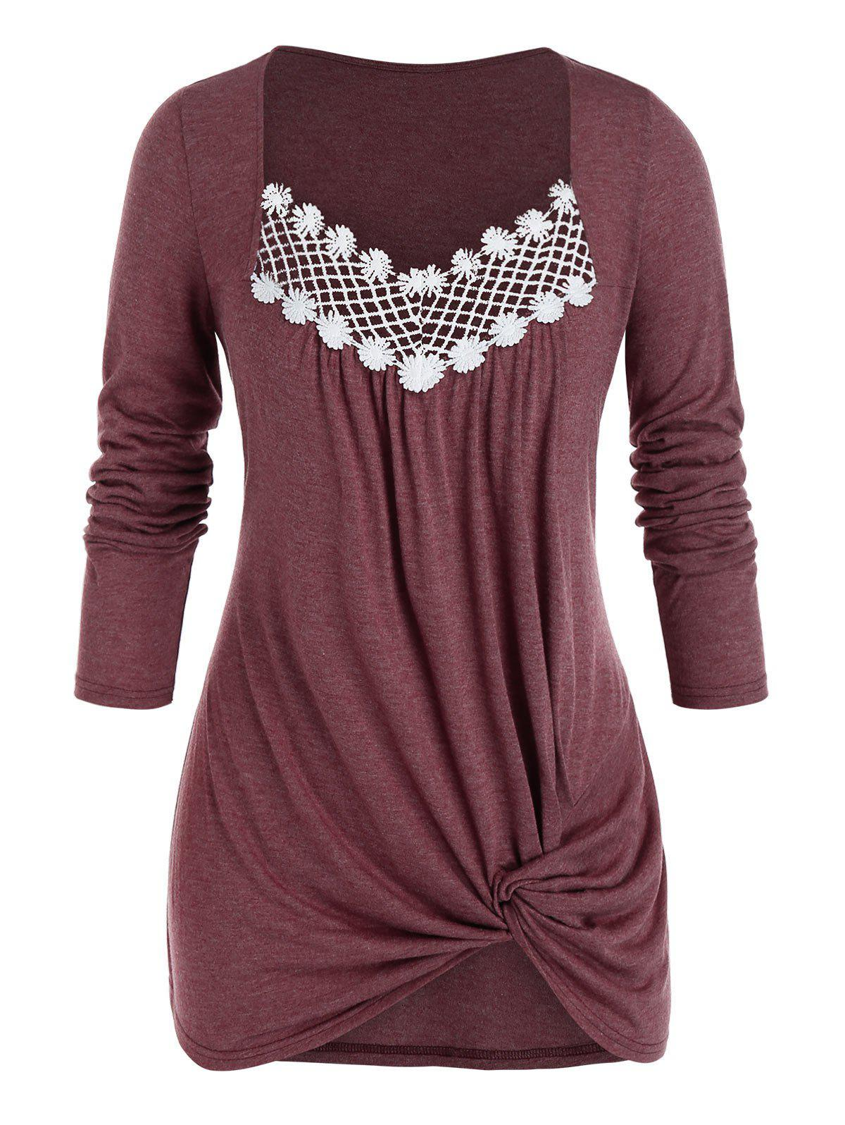 Plus Size Hollow Embroidery Knot Top