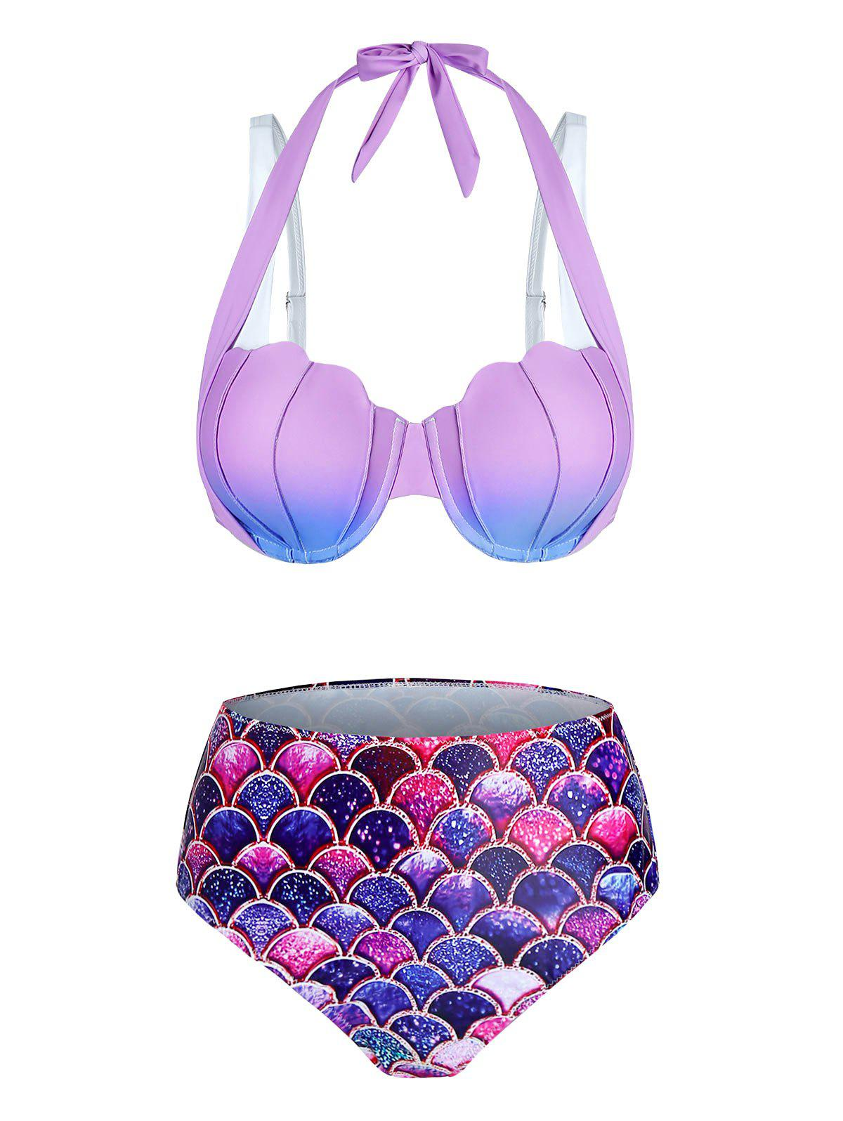 Latest Ombre Mermaid Print Padded Bikini Set