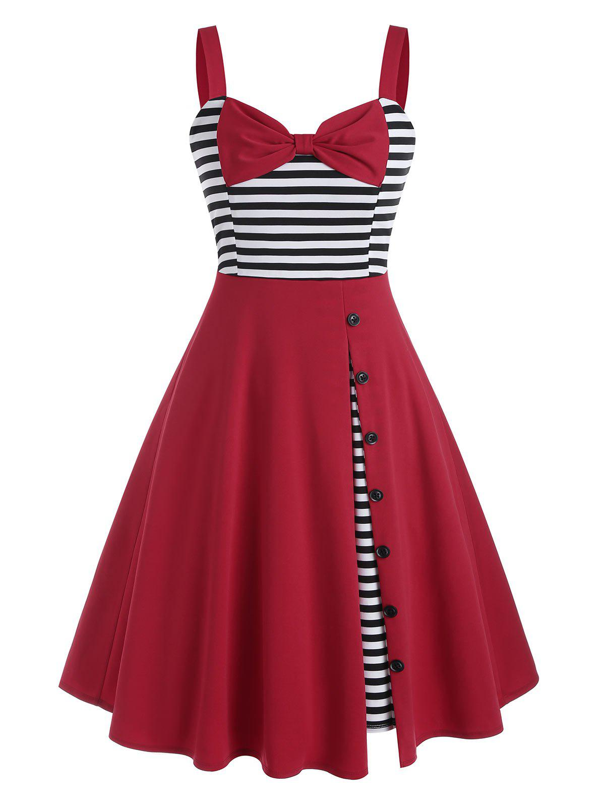 Trendy Bowknot Striped Panel Buttoned 1950s Dress