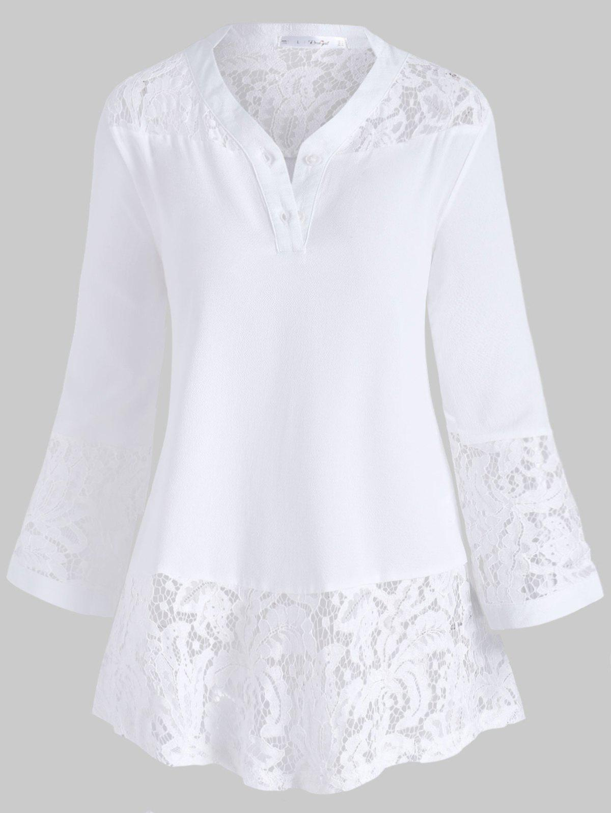 Affordable V Neck Buttoned Front Lace Panel Plus Size Blouse