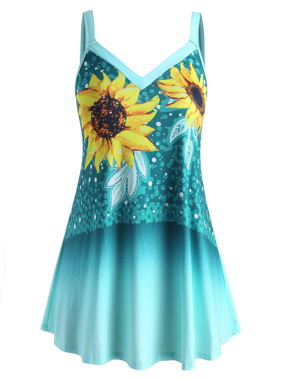 Plus Size Ombre Sunflower Print Tank Top фото