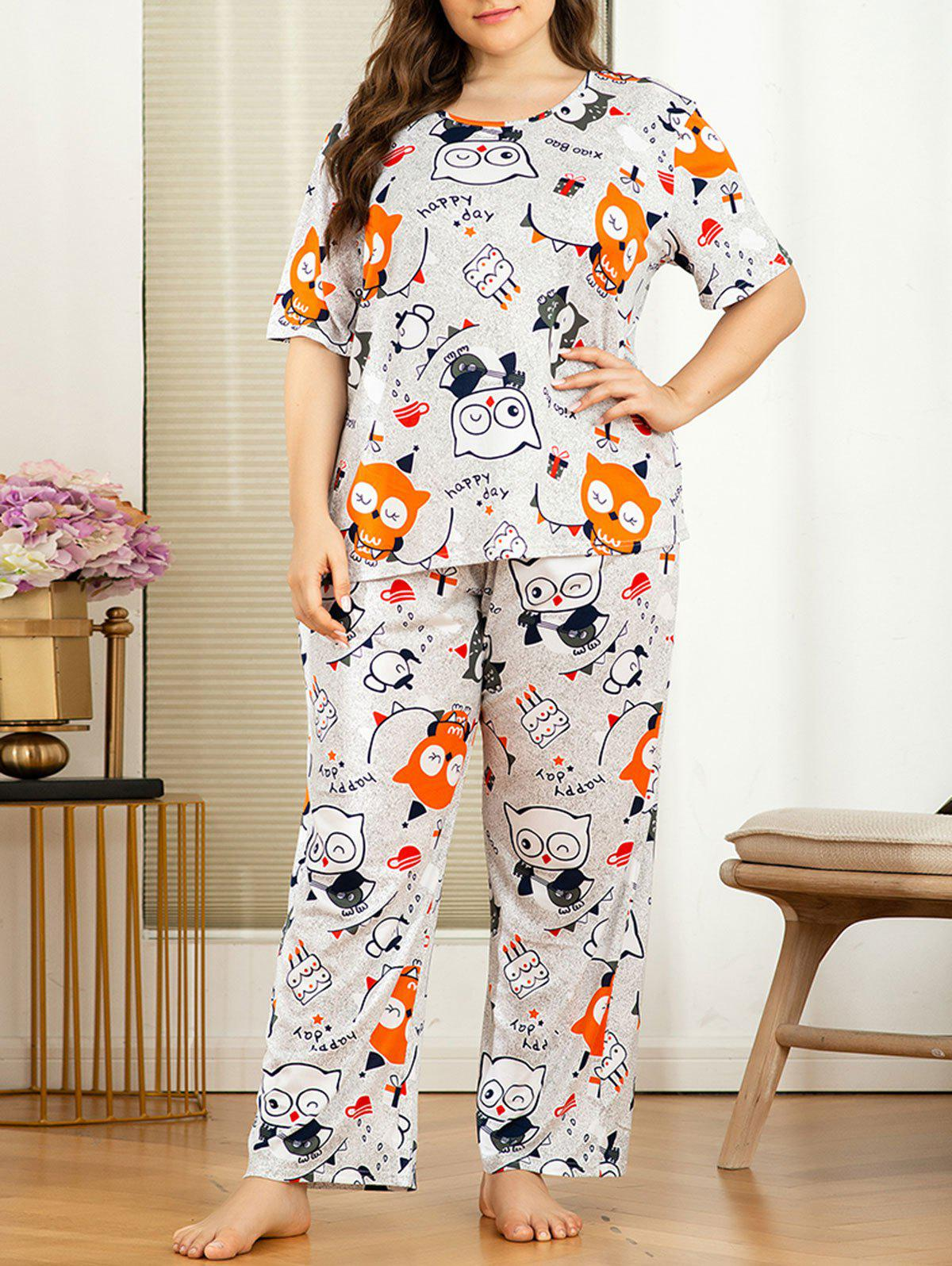 Shop Plus Size Cartoon Owl Print Pajama Set