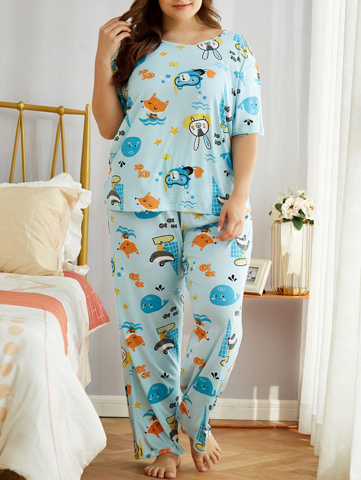 Latest Plus Size Cartoon Animal Print PJ Set