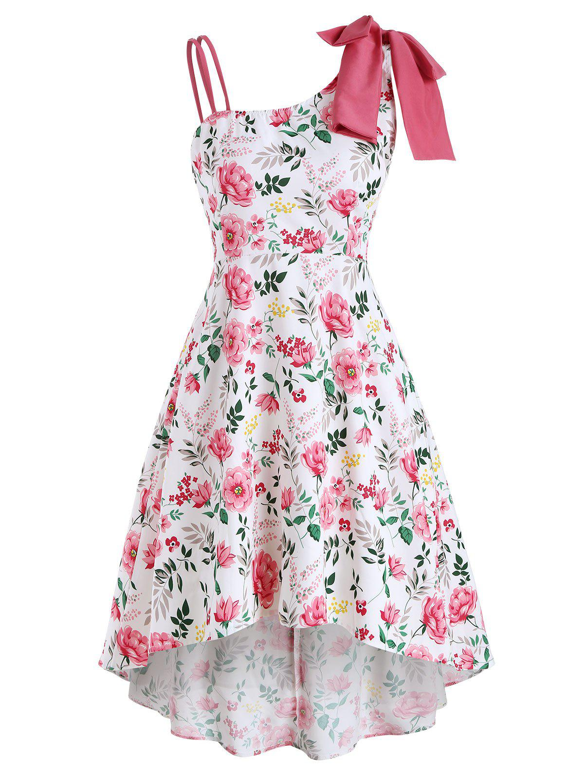 Discount Asymmetrical Bowknot Floral High Low Sleeveless Dress