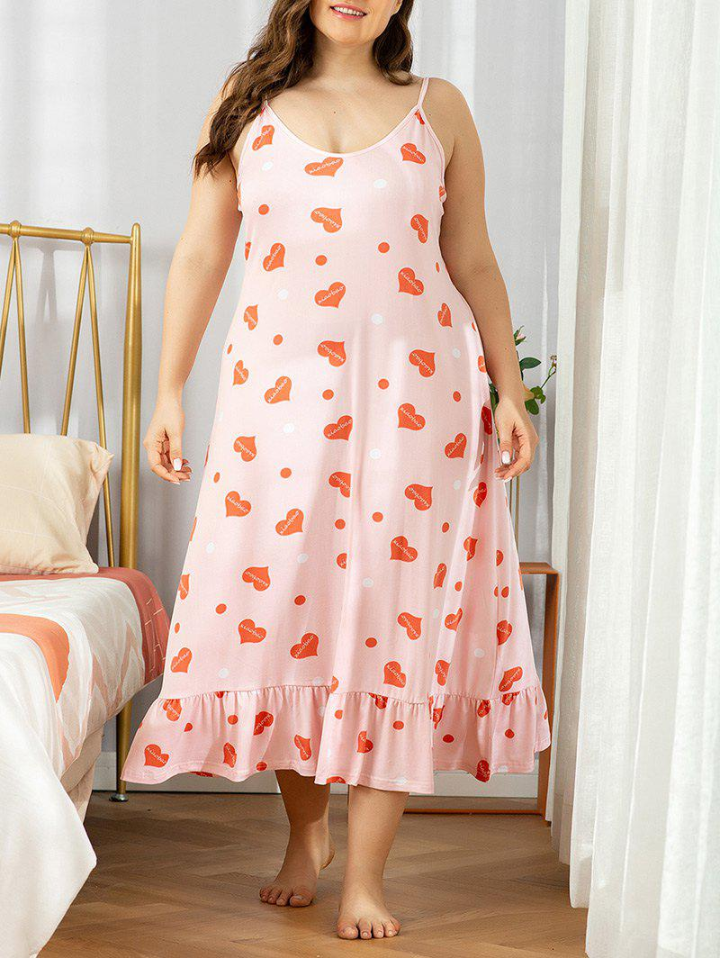 Shop Plus Size Heart Print Flounce Nightdress