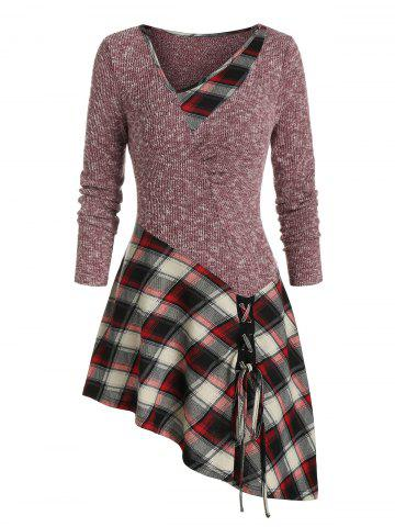 Plaid Print Lace-up Ribbed Asymmetric Sweater - RED WINE - 3XL
