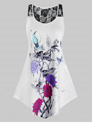 Plus Size Flower Skull Print Lace Sheer Racerback Tank Top -