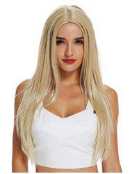 Long Straight Center Part Blonde Synthetic Wig -