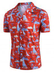 Palm Tree Sailboat Print Button Up Hawaii Shirt -
