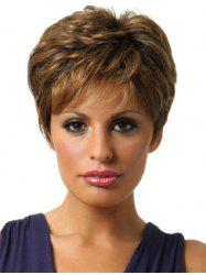 Side Bang Colormix Layered Short Straight Synthetic Wig -