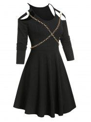 Chain Detail Ribbed Cold Shoulder Gothic Dress -