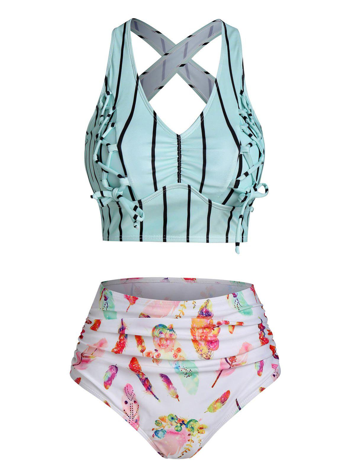 Latest Feather Striped Print Lace-up Ruched Padded Tankini Set