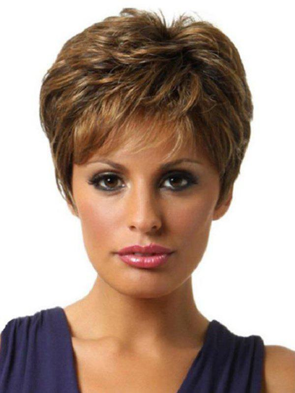 Outfits Side Bang Colormix Layered Short Straight Synthetic Wig