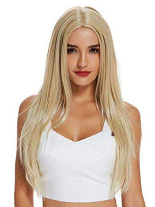 Outfits Long Straight Center Part Blonde Synthetic Wig