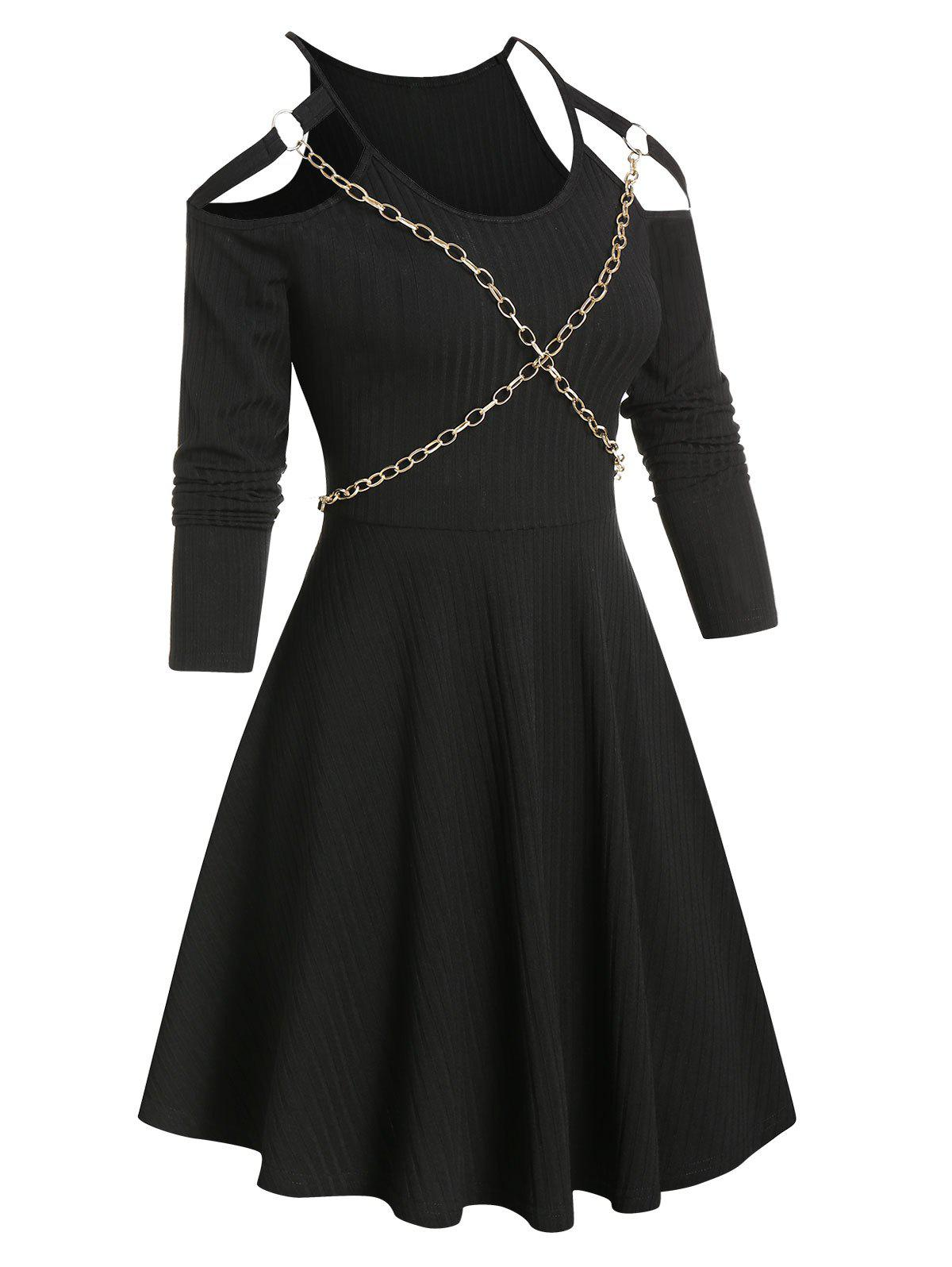 Best Chain Detail Ribbed Cold Shoulder Gothic Dress