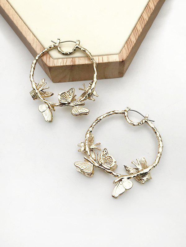 Affordable Carved Butterfly Alloy Hoop Earrings