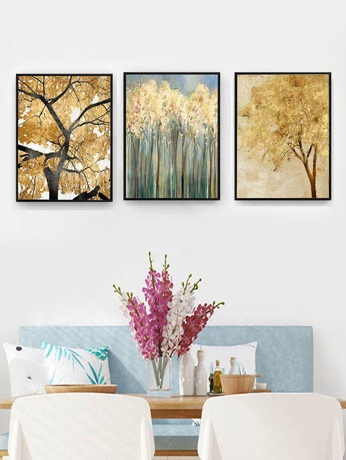 Tree Leaf Pattern Unframed Stick Split Paintings
