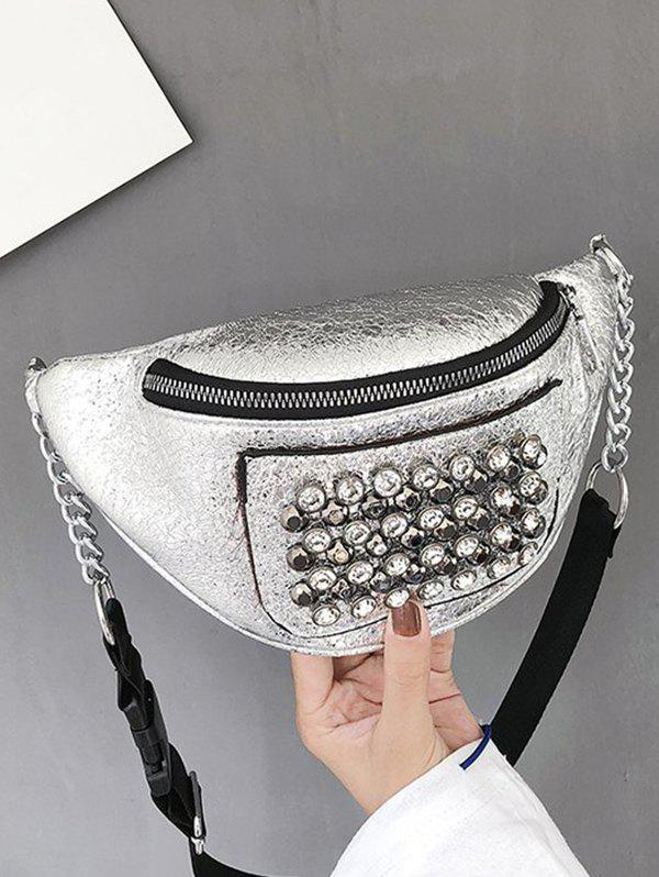 Outfits Rhinestone Studded Leather Chest Bag