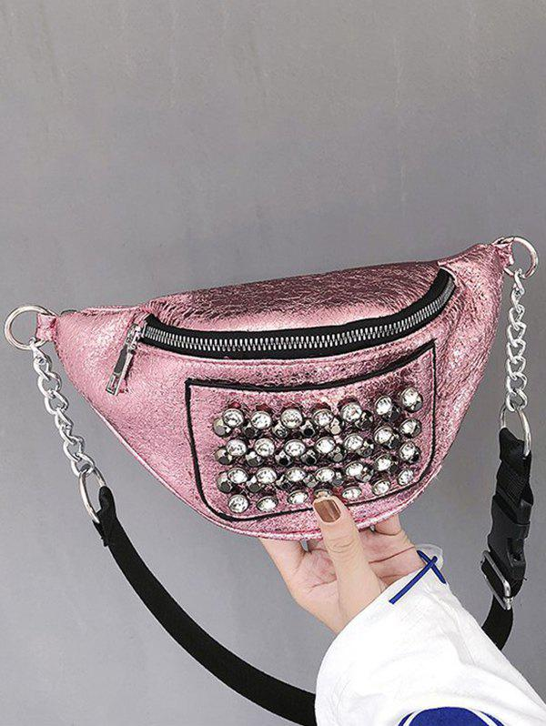 Store Rhinestone Studded Leather Chest Bag