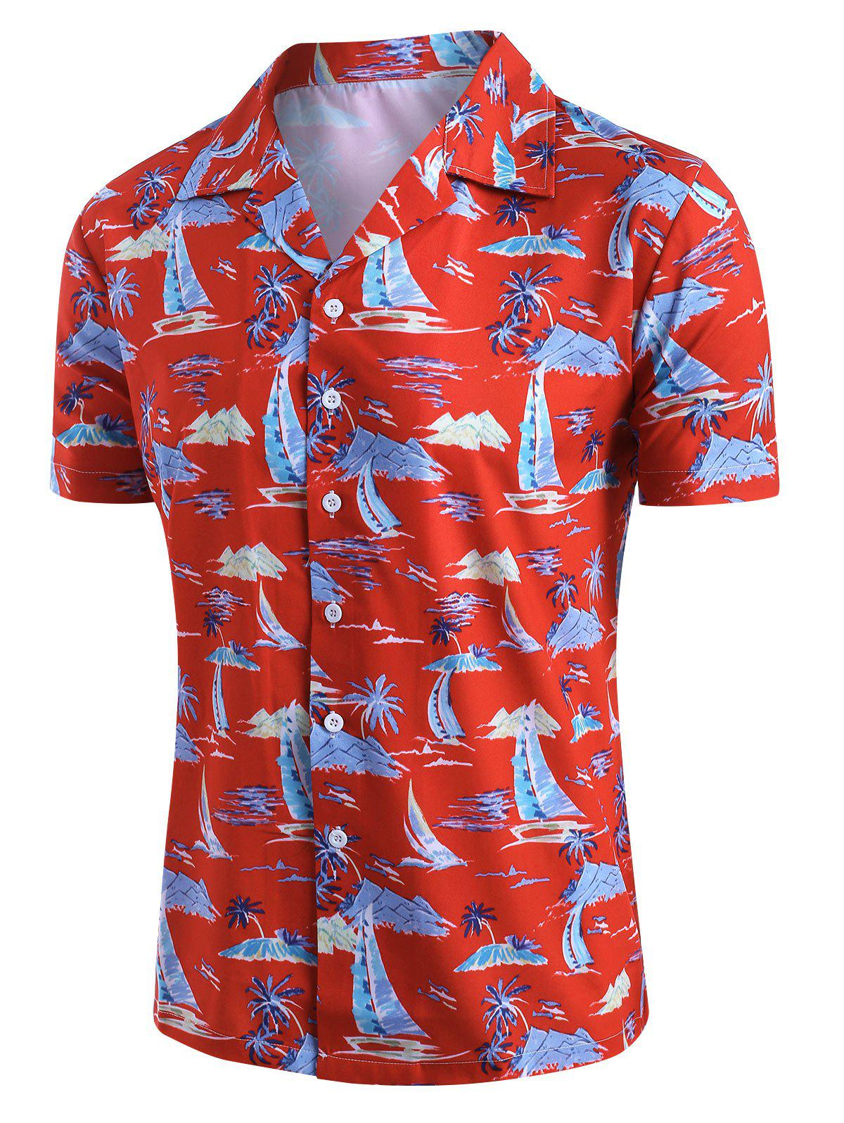 New Palm Tree Sailboat Print Button Up Hawaii Shirt