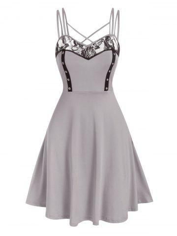 Lace Insert Crisscross Flare Dress