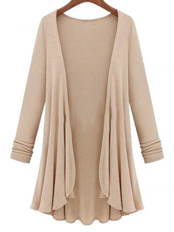 Plus Size Longline Duster Coat - LIGHT COFFEE - 4X