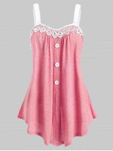 Lace Panel Button Embellished Casual Tank Top - LIGHT PINK - 2XL