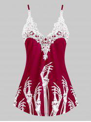 Lace Insert Skeleton Hands Print Cami Top -