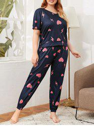 Plus Size Heart Lighting Pattern Drawstring Pants Pajama Set -