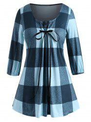 Bowknot Pleated Panel Plaid Plus Size Top -