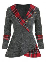 Shawl Collar Plaid Panel Button Knitted T Shirt -