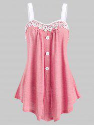 Lace Panel Button Embellished Casual Tank Top -