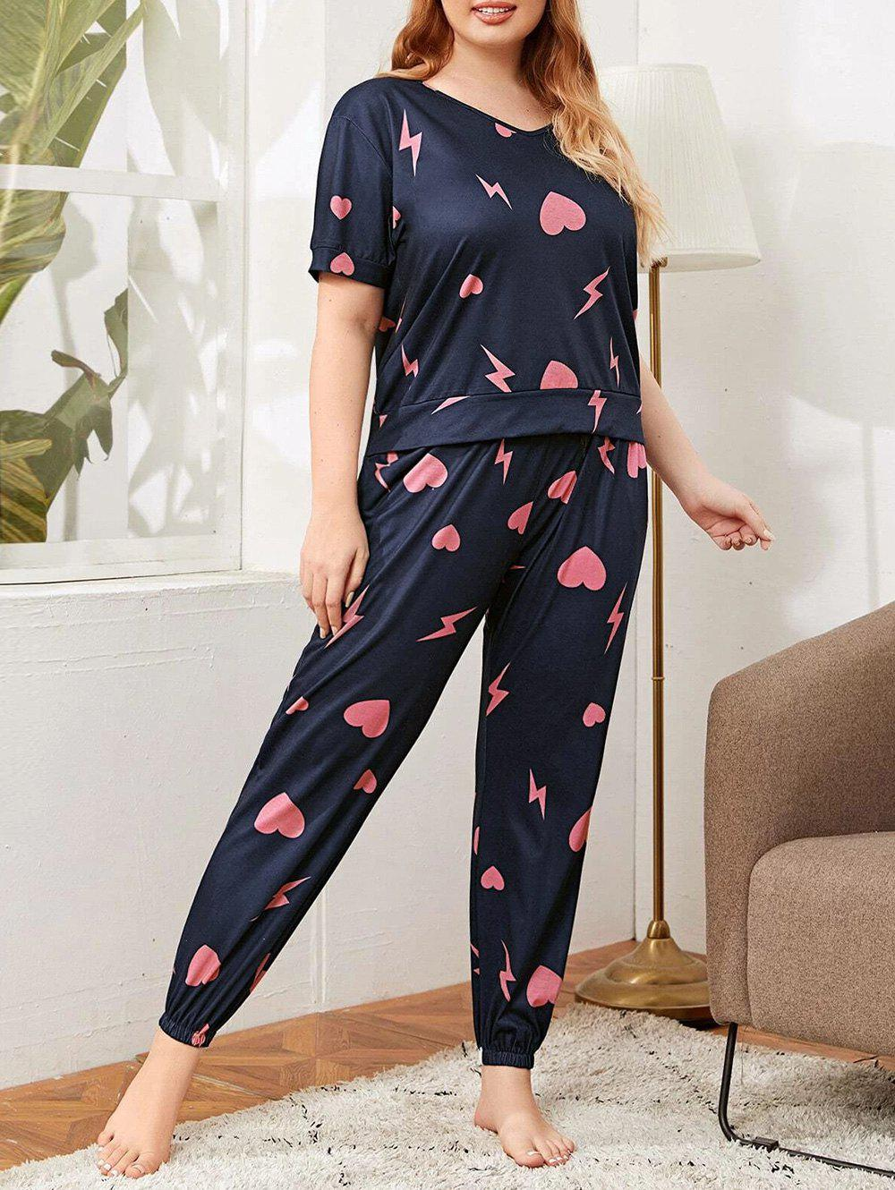 Chic Plus Size Heart Lighting Pattern Drawstring Pants Pajama Set