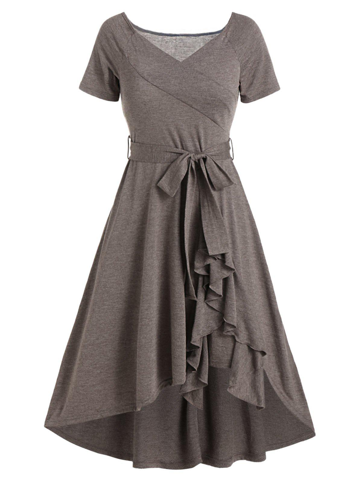 Plain V Neck Belted Flounce Hem High Low Dress фото