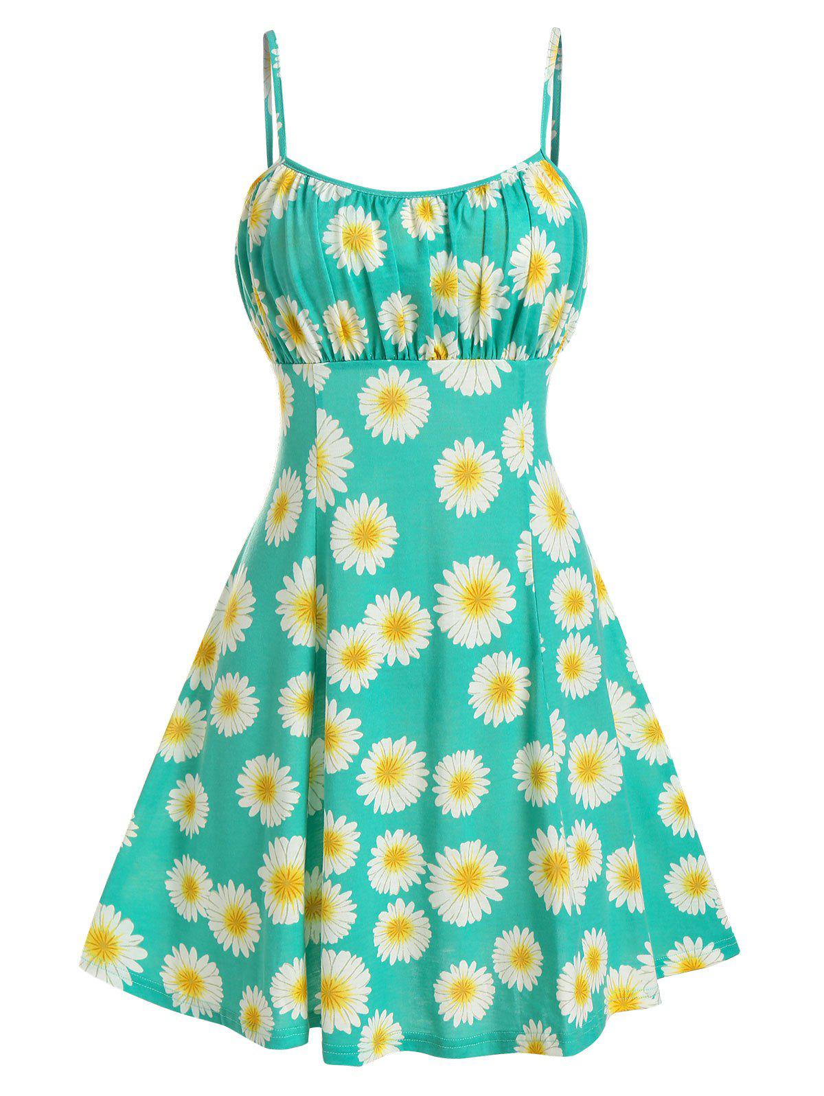Latest Sunflower Print Ruched Mini Cami Dress