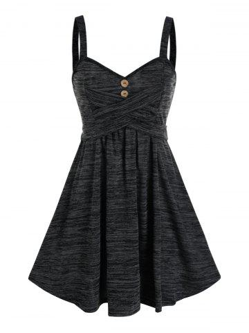 Space Dye Button Crisscross Mini Cami Dress