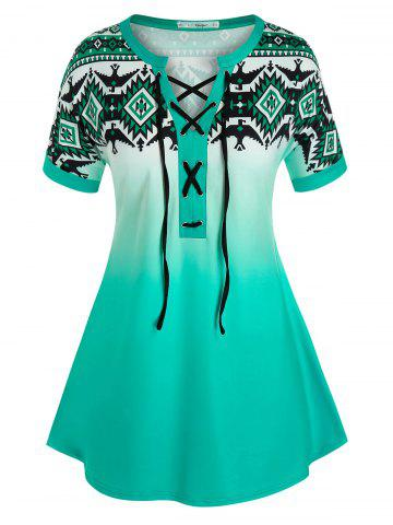 Plus Size Geometric Print Lace-up Ombre Cuffed Sleeve Tee - GREEN - L